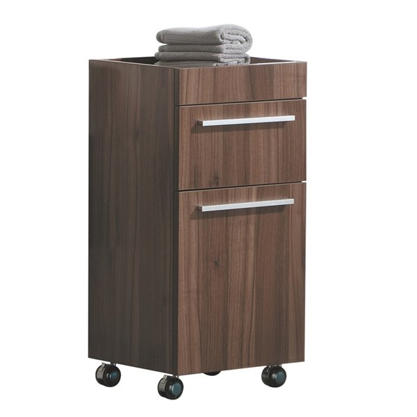 Luxo Marbre Relax Particleboard Cabinet Banks, with 1 Door and 1 Drawer, 13.75-in W x 28.75-in H x 15.75-in D, Walnut