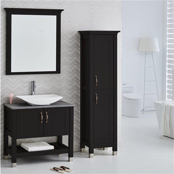 Luxo Marbre Lady MDF Freestanding Linen Cabinet, 16.75-in W x 72-in H x 19.75-in D, Black
