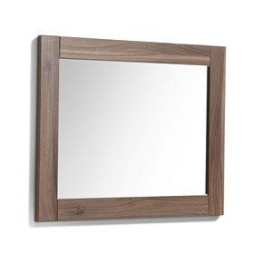 Luxo Marbre Relax Rectangular Frameless Bathroom Mirror, 30-in W, Walnut