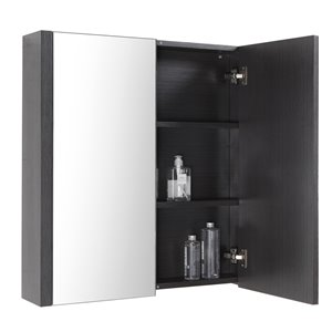 Luxo Marbre Relax Rectangular Medicine Cabinet with Bi-View Mirror, 30-in x 31.5-in, Silver Grey