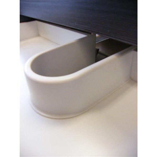 Meuble-lavabo de salle de bain Relax à lavabo unique de Luxo Marbre, avec surface blanche en faux marbre, 35,5 po L, noyer