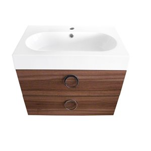 Meuble-lavabo de salle de bain Relax à lavabo unique de Luxo Marbre, avec surface blanche en faux marbre, 23,6 po L, noyer