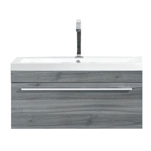 Luxo Marbre Relax Single Sink Bathroom Vanity with White Cultured Marble Top, 30.12-in W, Blue Grey