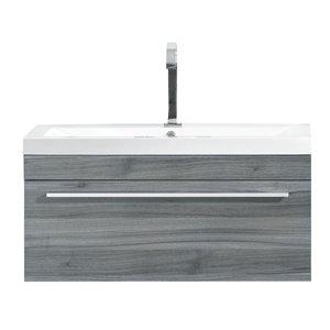 Meuble-lavabo de salle de bain Relax à lavabo unique de Luxo Marbre, avec surface blanche en faux marbre, 30,12 po L, bleu gris