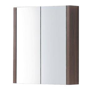 Pharmacie Relax rectangulaire de Luxo Marbre à miroir double, 30 po x 31,5 po, noyer
