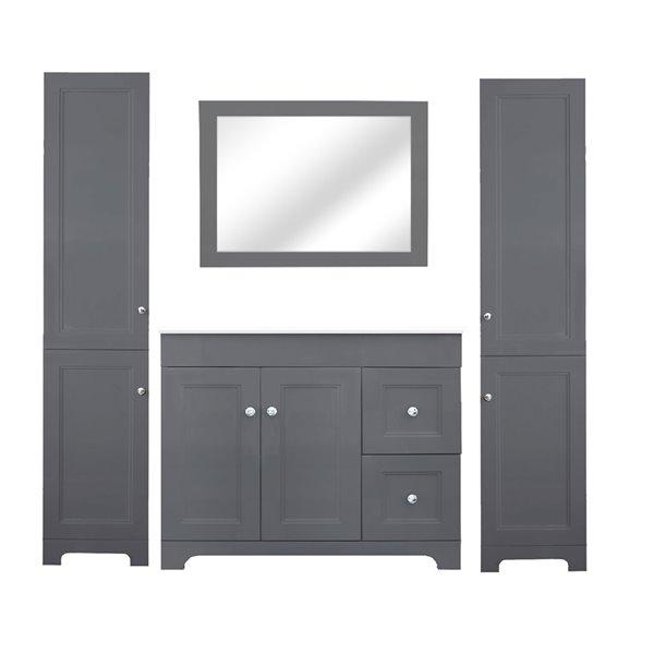 Luxo Marbre Classic MDF Freestanding Linen Cabinet, Doors Open Left, 16-in W x 74.75-in H x 13-in D, Light Grey