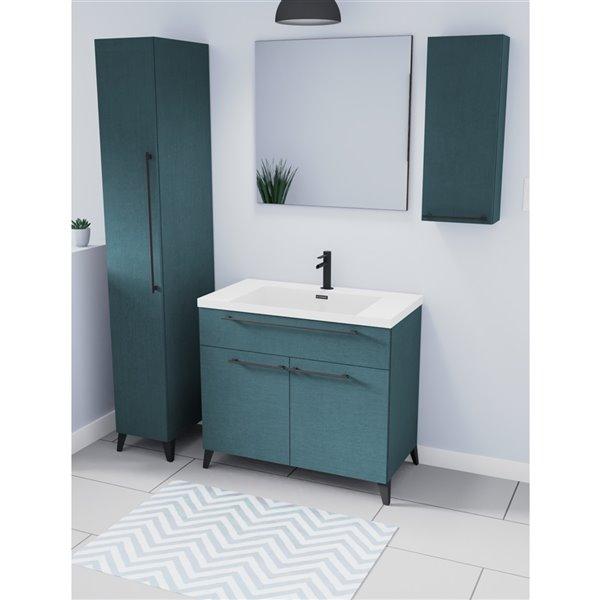 Luxo Marbre Blue Rectangular Bathroom, Bathroom Mirrors Ikea Canada