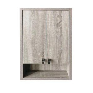 Luxo Marbre Brown Eco Bathroom Wall Cabinet, 22-in W x 35.5-in H x 6.25-in D, Brown
