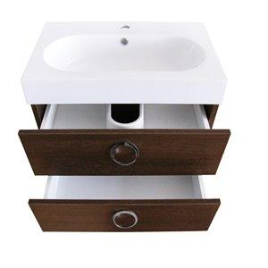 Meuble-lavabo de salle de bain Relax à lavabo unique de Luxo Marbre, avec surface blanche en faux marbre, 23,6 po L, chêne Ala