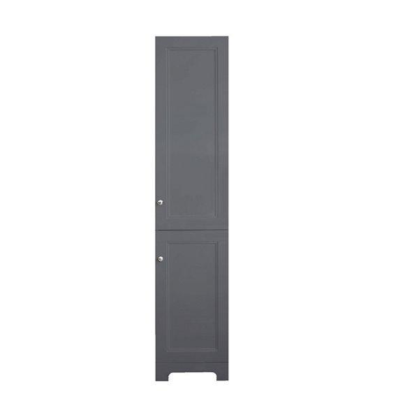 Luxo Marbre Classic MDF Freestanding Linen Cabinet, Doors Open Right, 16-in W x 74.75-in H x 13-in D, Light Grey