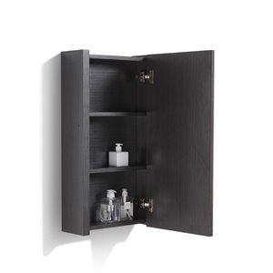 Luxo Marbre Relax Rectangular Medicine Cabinet with Single Mirror, 17.75-in x 31.5-in, Silver Grey