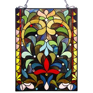 Fine Art Lighting Tiffany Floral Stained Glass Window Panel with Metal Frame, 18-in W x 24-in H