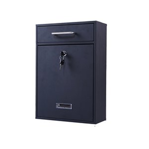 Fine Art Lighting Medium-Size Metal Wall Mailbox, Black Sand Grain