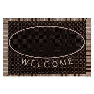 Floor Choice Brown Friendly Welcome Mat - 39-in x 18-in