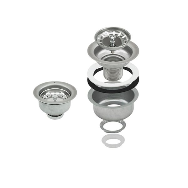 Elegant Rust Resistant Kitchen Sink Strainer with Basket - 3.5-in - Polished Stainless Steel