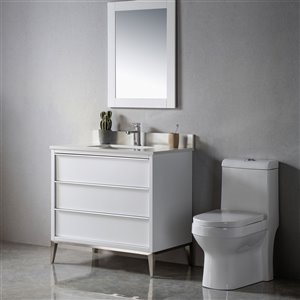 Meuble-lavabo Amelie blanc/nickel brossé de 36 po par Jade Bath