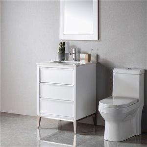 Meuble-lavabo Amelie blanc/nickel brossé de 24 po par Jade Bath