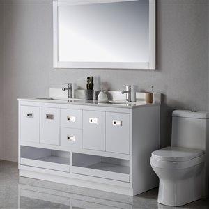 Meuble-lavabo Lisette blanc/nickel brossé de 60 po par Jade Bath