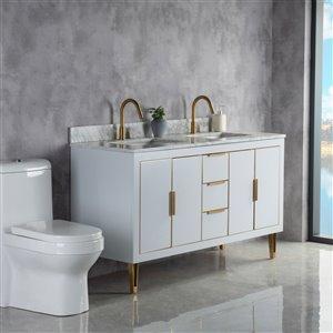 Meuble-lavabo Estelle gris/or brossé de 60 po par Jade Bath