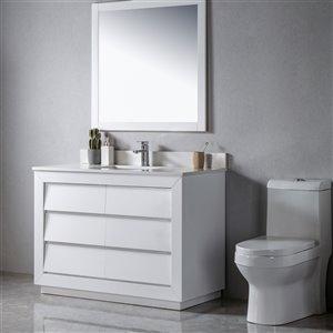 Meuble-lavabo Jacqueline blanc/noir mat de 48 po par Jade Bath