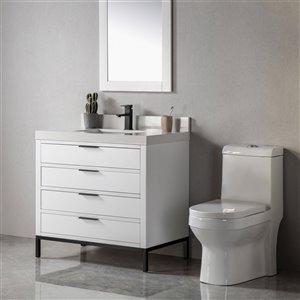 Meuble-lavabo Eloise blanc/noir mat de 36 po par Jade Bath