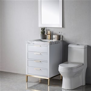 Meuble-lavabo Lisette gris/or de 23 po par Jade Bath