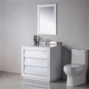 Meuble-lavabo Jacqueline gris/or de 36 po par Jade Bath