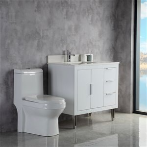 Meuble-lavabo Estelle blanc/nickel brossé de 36 po par Jade Bath