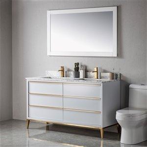 Meuble-lavabo Amelie gris/or brossé de 60 po par Jade Bath