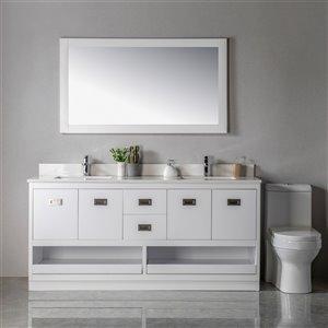 Meuble-lavabo Lisette blanc/nickel brossé de 72 po par Jade Bath