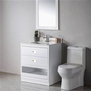 Meuble-lavabo Lisette blanc/nickel brossé de 24 po par Jade Bath
