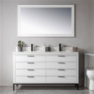 Meuble-lavabo Eloise blanc/noir mat de 60 po par Jade Bath