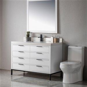 Meuble-lavabo Eloise blanc/noir mat de 48 po par Jade Bath
