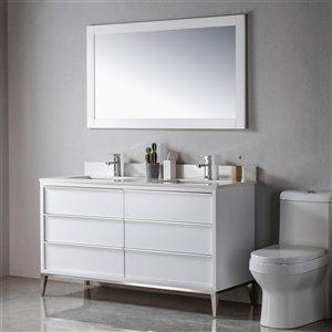 Meuble-lavabo Amelie blanc/nickel brossé de 60 po par Jade Bath