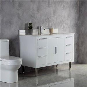 Meuble-lavabo Estelle blanc/nickel brossé de 48 po par Jade Bath