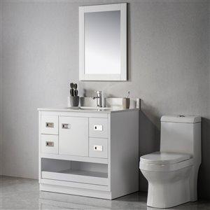Meuble-lavabo Lisette blanc/nickel brossé de 36 po par Jade Bath