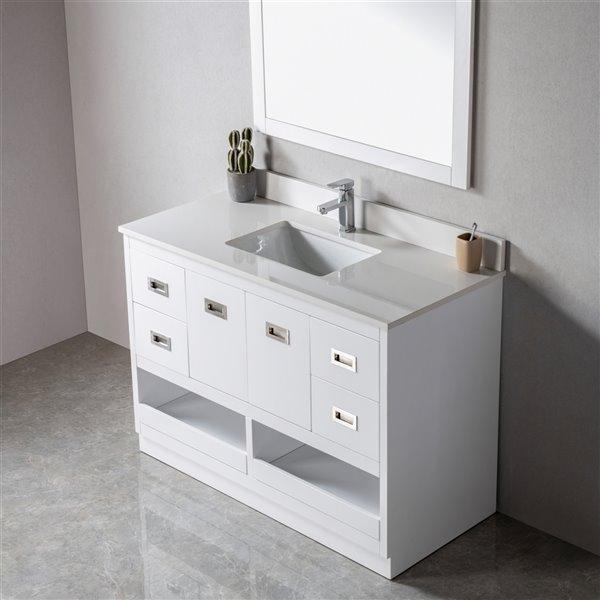 Jade Bath Lisette 48 In White Brushed, Brushed Nickel Bathroom Cabinet
