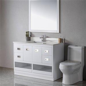 Meuble-lavabo Lisette blanc/nickel brossé de 48 po par Jade Bath