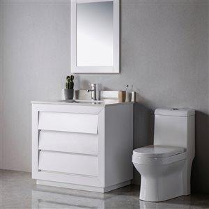 Meuble-lavabo Jacqueline blanc/noir mat de 36 po par Jade Bath