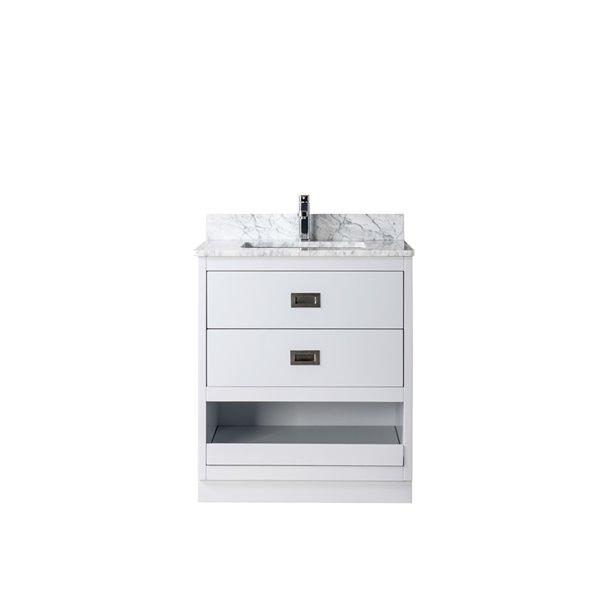 Jade Bath Lisette 30 In Soft Grey, Brushed Nickel Bathroom Cabinet