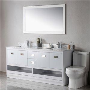 Meuble-lavabo Lisette gris/nickel brossé de 72 po par Jade Bath