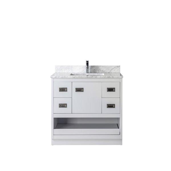Jade Bath Lisette 36 In Soft Grey Brushed Nickel Bathroom Vanity Cabinet 3062 36 01 Rona