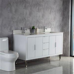 Meuble-lavabo Estelle blanc/nickel brossé de 60 po par Jade Bath
