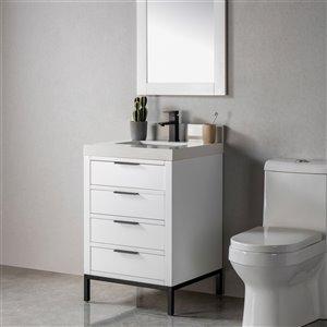 Meuble-lavabo Lisette blanc/noir mat de 23 po par Jade Bath