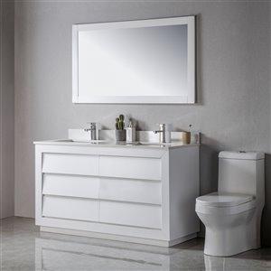 Meuble-lavabo Jacqueline blanc/noir mat de 60 po par Jade Bath