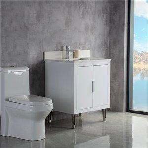 Meuble-lavabo Estelle blanc/nickel brossé de 29 po par Jade Bath