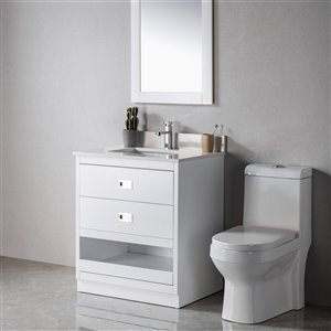 Meuble-lavabo Lisette blanc/nickel brossé de 30 po par Jade Bath