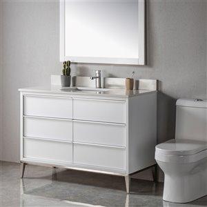 Meuble-lavabo Amelie blanc/nickel brossé de 48 po par Jade Bath