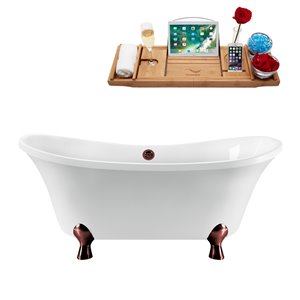 Streamline Freestanding Bathtub with Tray/External Drain - 60-in - White