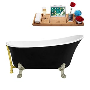 Streamline Clawfoot Tub with Tray and External Drain - 67-in - Black